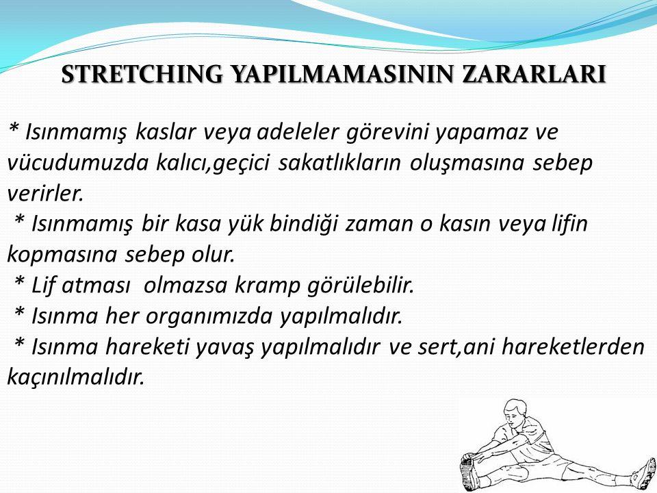 STRETCHING YAPILMAMASININ ZARARLARI * Isınmamış kaslar veya adeleler görevini yapamaz ve vücudumuzda kalıcı,geçici sakatlıkların oluşmasına sebep veri
