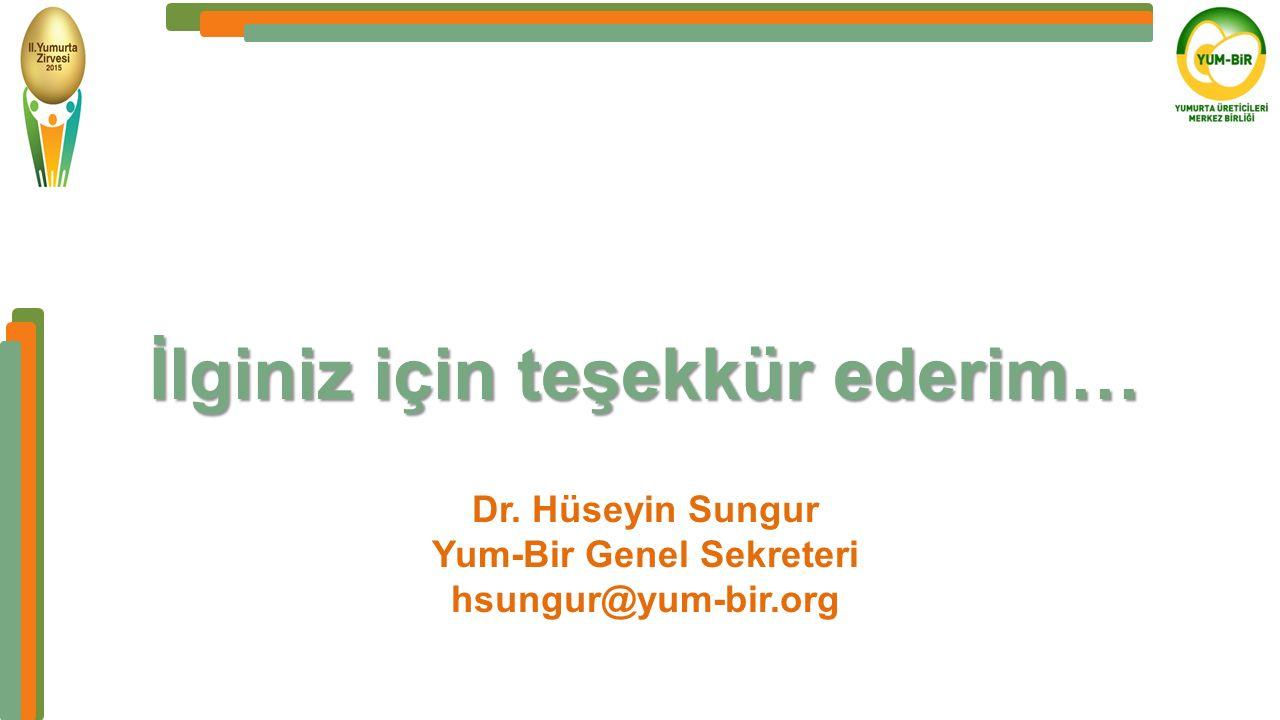İlginiz için teşekkür ederim… Dr. Hüseyin Sungur Yum-Bir Genel Sekreteri hsungur@yum-bir.org