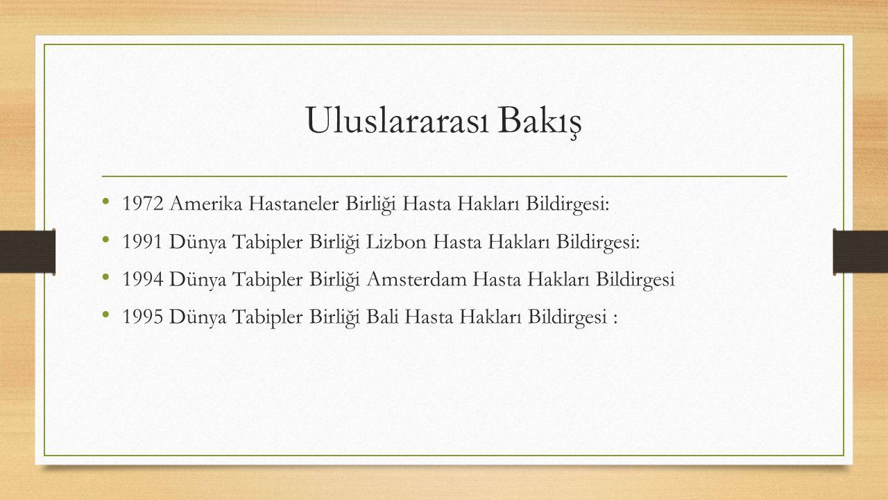 Türkiye de https://hastahaklari.saglik.gov.tr/ 1928 Tababet ve Şuabatı Sanatlarının Tarz-ı İcrasına Dair Kanun (70.