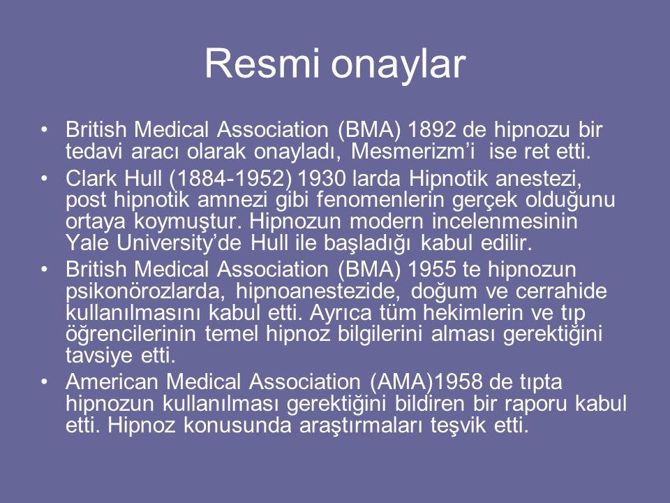 Resmi onaylar British Medical Association (BMA) 1892 de hipnozu bir tedavi aracı olarak onayladı, Mesmerizm'i ise ret etti. Clark Hull (1884-1952) 193
