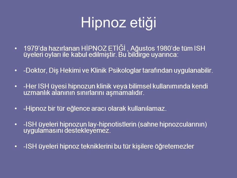 Hipnoz etiği 1979'da hazırlanan HİPNOZ ETİĞİ, Ağustos 1980'de tüm ISH üyeleri oyları ile kabul edilmiştir. Bu bildirge uyarınca: -Doktor, Diş Hekimi v
