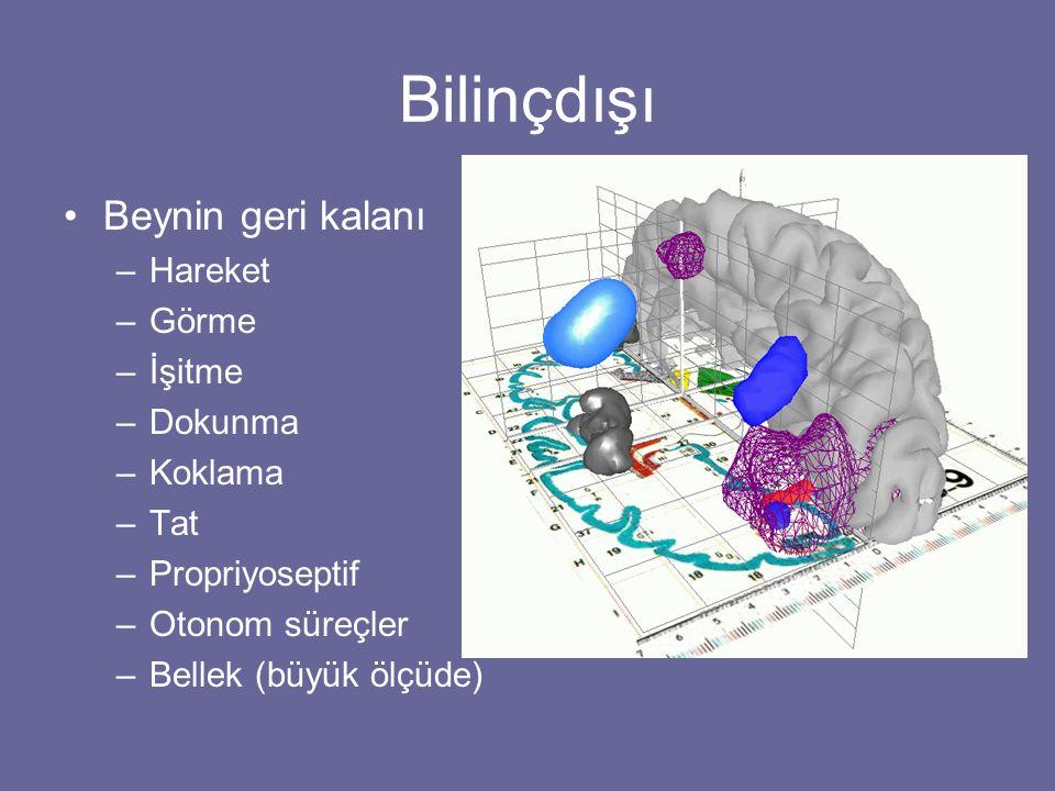 Bilinçdışı Beynin geri kalanı –Hareket –Görme –İşitme –Dokunma –Koklama –Tat –Propriyoseptif –Otonom süreçler –Bellek (büyük ölçüde)