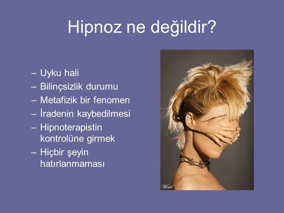 Hipnoz ne değildir? –Uyku hali –Bilinçsizlik durumu –Metafizik bir fenomen –İradenin kaybedilmesi –Hipnoterapistin kontrolüne girmek –Hiçbir şeyin hat