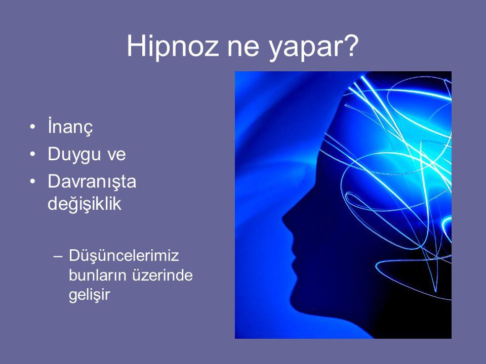 Hipnoz ne yapar? İnanç Duygu ve Davranışta değişiklik –Düşüncelerimiz bunların üzerinde gelişir