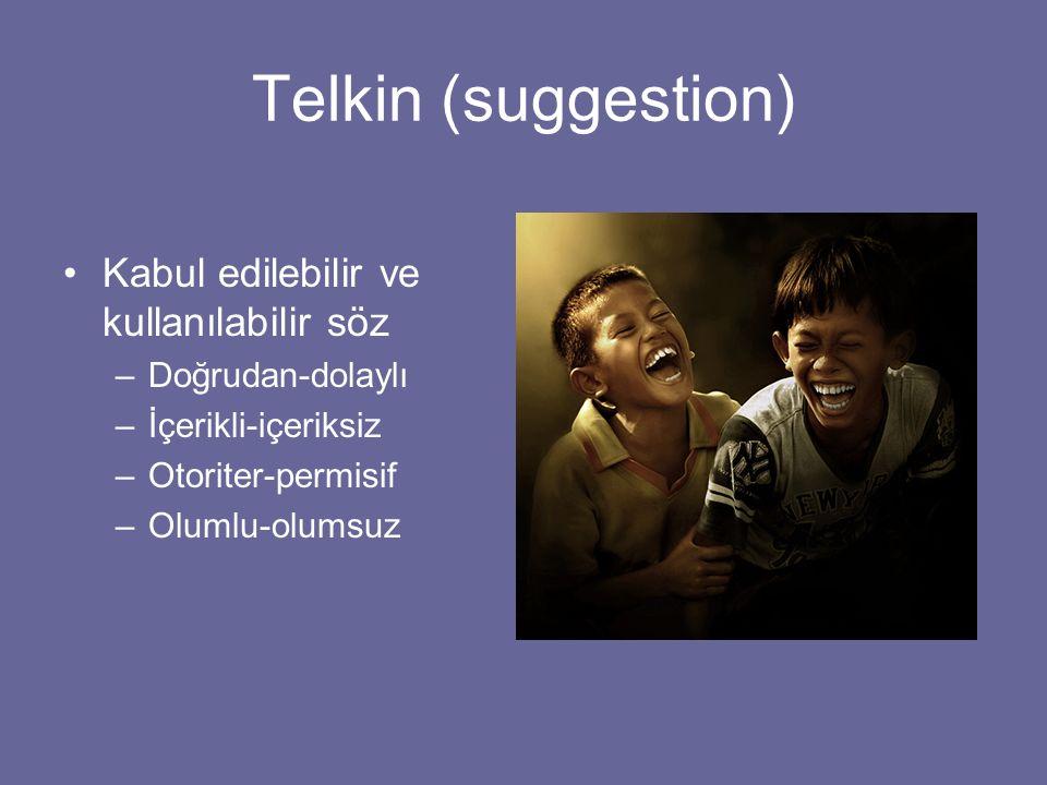 Telkin (suggestion) Kabul edilebilir ve kullanılabilir söz –Doğrudan-dolaylı –İçerikli-içeriksiz –Otoriter-permisif –Olumlu-olumsuz