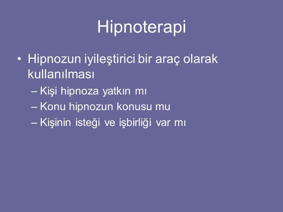 Hipnoterapi Hipnozun iyileştirici bir araç olarak kullanılması –Kişi hipnoza yatkın mı –Konu hipnozun konusu mu –Kişinin isteği ve işbirliği var mı