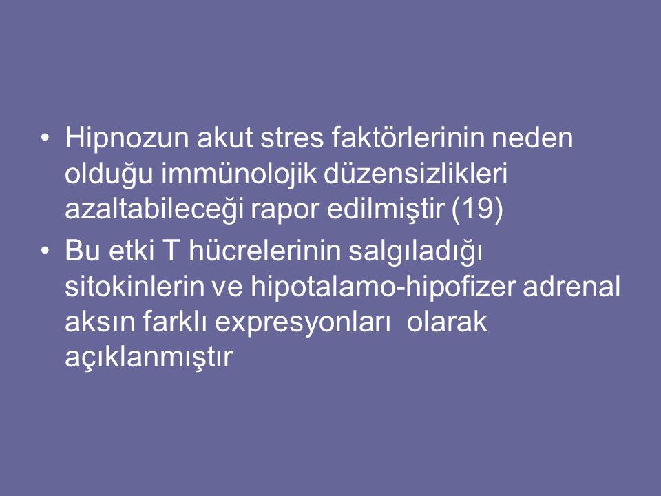 Hipnozun akut stres faktörlerinin neden olduğu immünolojik düzensizlikleri azaltabileceği rapor edilmiştir (19) Bu etki T hücrelerinin salgıladığı sit