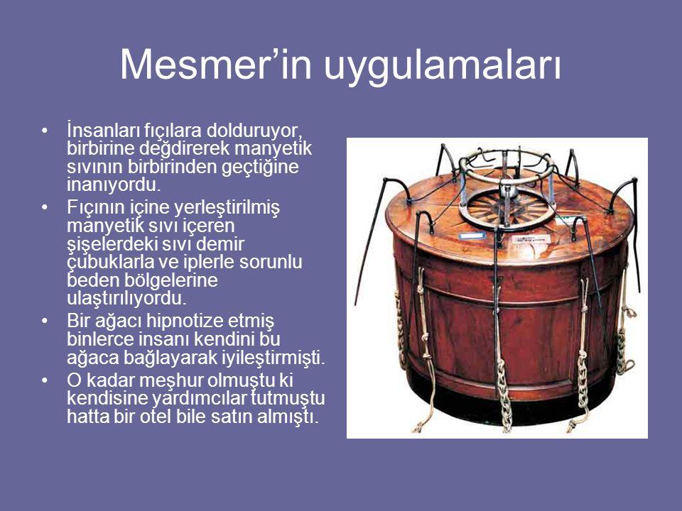 Mesmer'in uygulamaları İnsanları fıçılara dolduruyor, birbirine değdirerek manyetik sıvının birbirinden geçtiğine inanıyordu. Fıçının içine yerleştiri