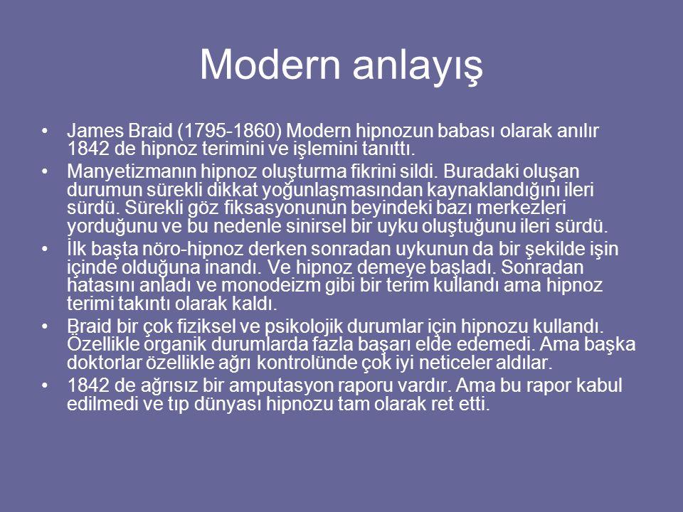 Modern anlayış James Braid (1795-1860) Modern hipnozun babası olarak anılır 1842 de hipnoz terimini ve işlemini tanıttı. Manyetizmanın hipnoz oluşturm