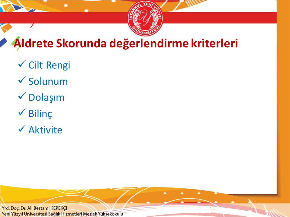 Aldrete Skorunda değerlendirme kriterleri Cilt Rengi Solunum Dolaşım Bilinç Aktivite