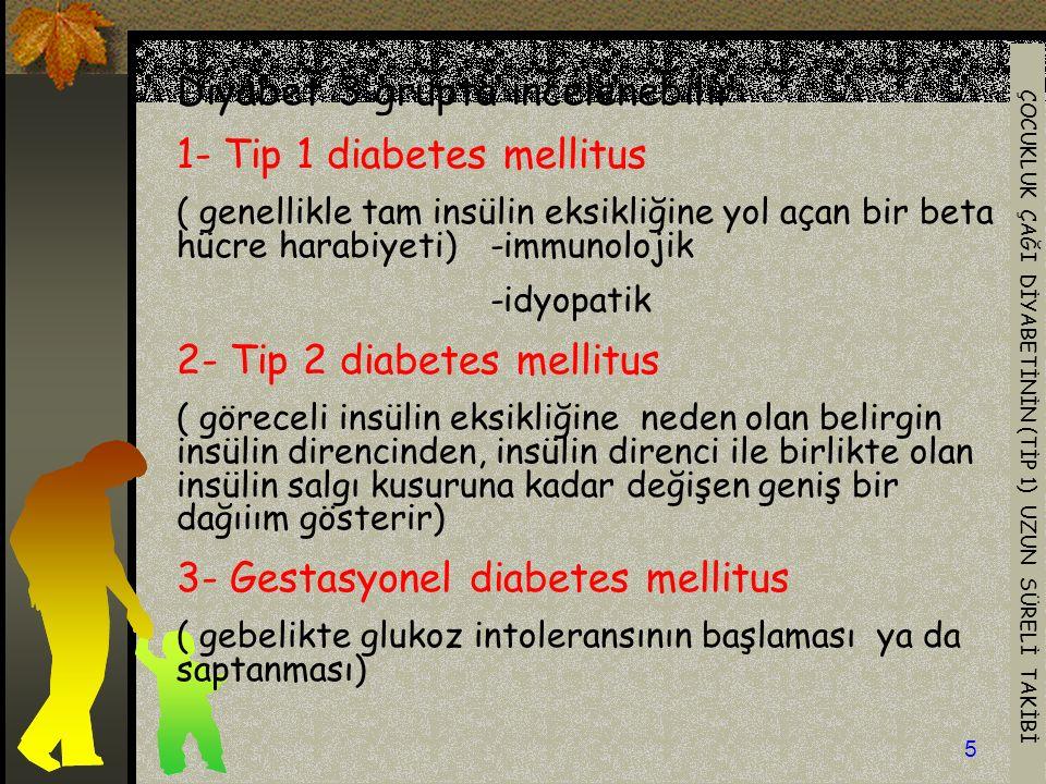ÇOCUKLUK ÇAĞI DİYABETİNİN (TİP 1) UZUN SÜRELİ TAKİBİ 5 Diyabet 3 grupta incelenebilir: 1- Tip 1 diabetes mellitus ( genellikle tam insülin eksikliğine yol açan bir beta hücre harabiyeti) -immunolojik -idyopatik 2- Tip 2 diabetes mellitus ( göreceli insülin eksikliğine neden olan belirgin insülin direncinden, insülin direnci ile birlikte olan insülin salgı kusuruna kadar değişen geniş bir dağıiım gösterir) 3- Gestasyonel diabetes mellitus ( gebelikte glukoz intoleransının başlaması ya da saptanması)
