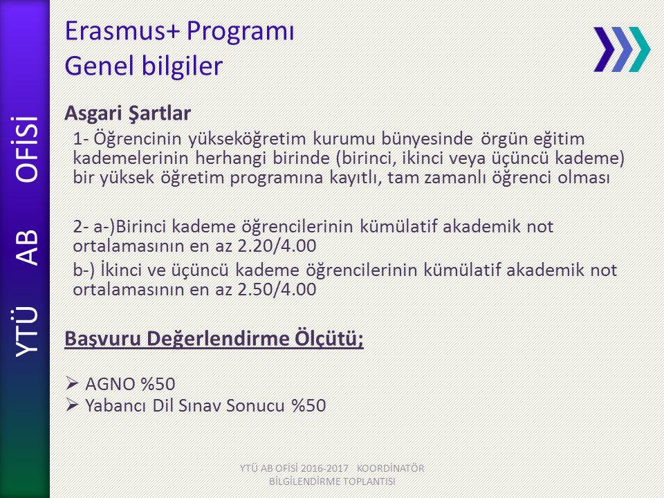 YTÜ AB OFİSİ Erasmus+ Programı Genel bilgiler Asgari Şartlar 1- Öğrencinin yükseköğretim kurumu bünyesinde örgün eğitim kademelerinin herhangi birinde (birinci, ikinci veya üçüncü kademe) bir yüksek öğretim programına kayıtlı, tam zamanlı öğrenci olması 2- a-)Birinci kademe öğrencilerinin kümülatif akademik not ortalamasının en az 2.20/4.00 b-) İkinci ve üçüncü kademe öğrencilerinin kümülatif akademik not ortalamasının en az 2.50/4.00 Başvuru Değerlendirme Ölçütü;  AGNO %50  Yabancı Dil Sınav Sonucu %50 YTÜ AB OFİSİ 2016-2017 KOORDİNATÖR BİLGİLENDİRME TOPLANTISI