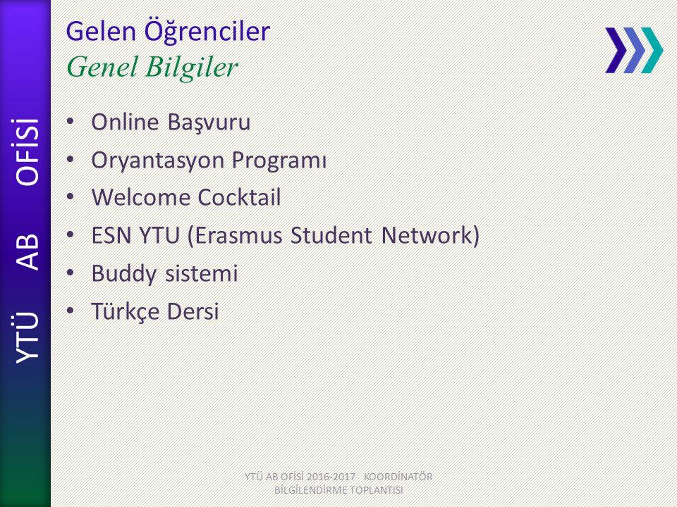 YTÜ AB OFİSİ Gelen Öğrenciler Genel Bilgiler Online Başvuru Oryantasyon Programı Welcome Cocktail ESN YTU (Erasmus Student Network) Buddy sistemi Türkçe Dersi YTÜ AB OFİSİ 2016-2017 KOORDİNATÖR BİLGİLENDİRME TOPLANTISI