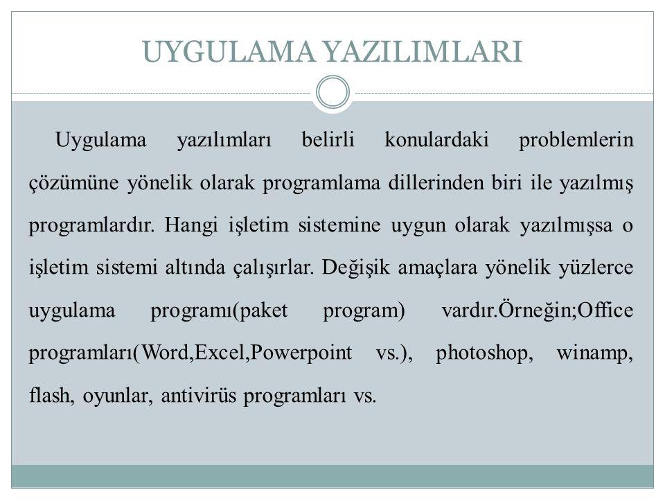 UYGULAMA YAZILIMLARI Uygulama yazılımları belirli konulardaki problemlerin çözümüne yönelik olarak programlama dillerinden biri ile yazılmış programla