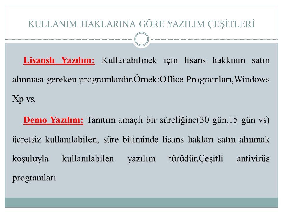 KULLANIM HAKLARINA GÖRE YAZILIM ÇEŞİTLERİ Lisanslı Yazılım: Kullanabilmek için lisans hakkının satın alınması gereken programlardır.Örnek:Office Progr