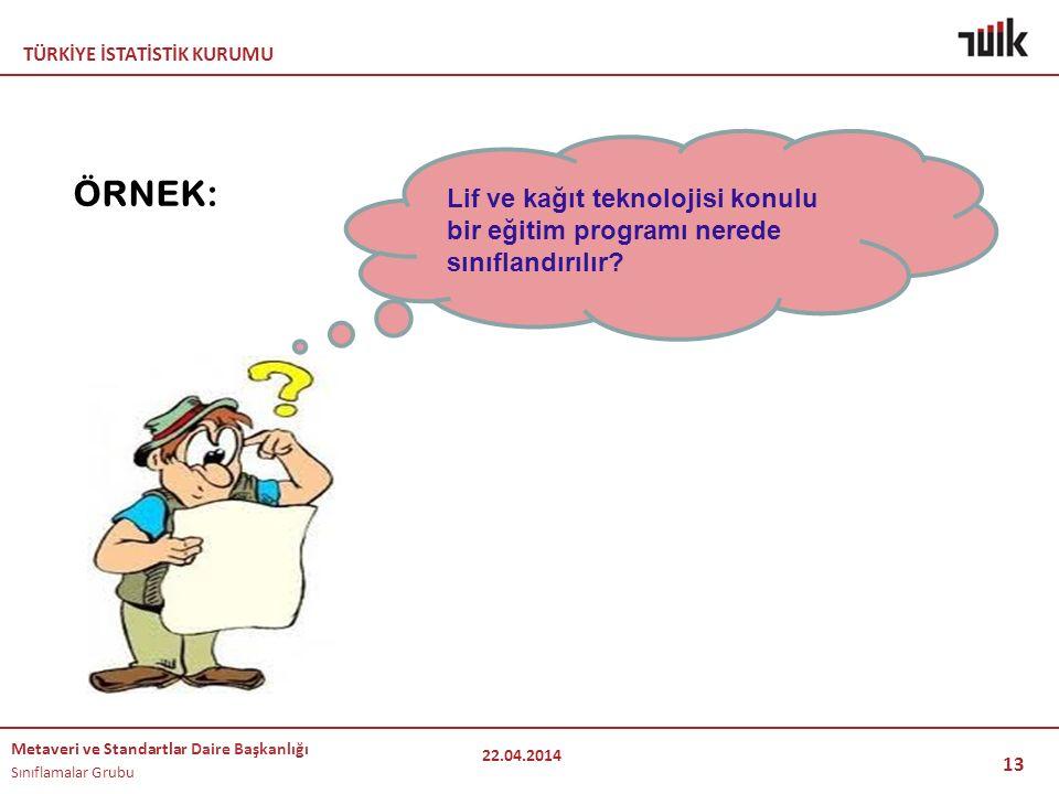 TÜRKİYE İSTATİSTİK KURUMU Metaveri ve Standartlar Daire Başkanlığı Sınıflamalar Grubu 13 ÖRNEK: 22.04.2014 Lif ve kağıt teknolojisi konulu bir eğitim