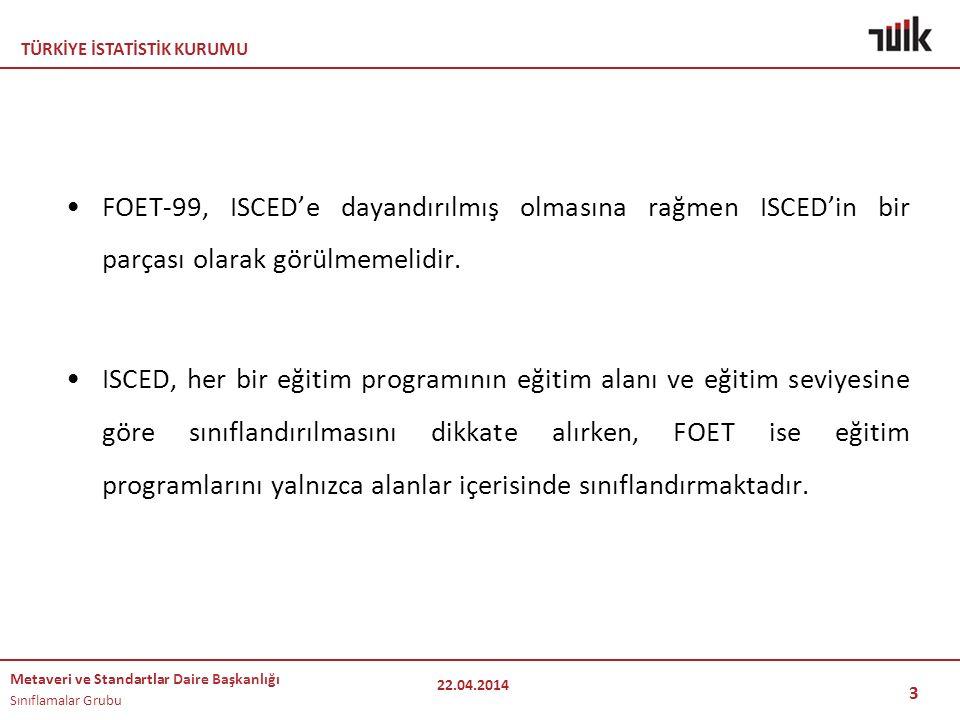TÜRKİYE İSTATİSTİK KURUMU Metaveri ve Standartlar Daire Başkanlığı Sınıflamalar Grubu 3 FOET-99, ISCED'e dayandırılmış olmasına rağmen ISCED'in bir pa