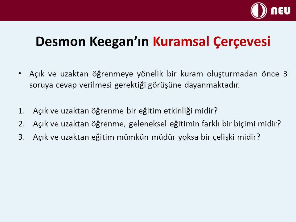 Desmon Keegan'ın Kuramsal Çerçevesi Açık ve uzaktan öğrenmeye yönelik bir kuram oluşturmadan önce 3 soruya cevap verilmesi gerektiği görüşüne dayanmaktadır.