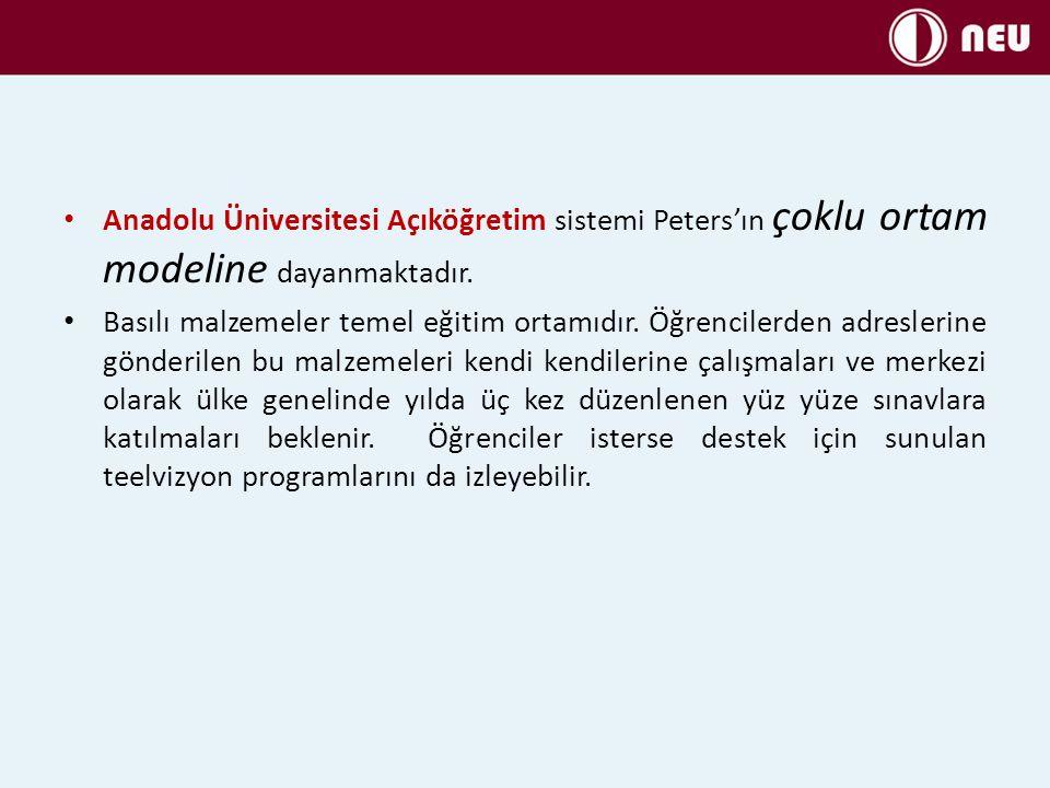 Anadolu Üniversitesi Açıköğretim sistemi Peters'ın çoklu ortam modeline dayanmaktadır.