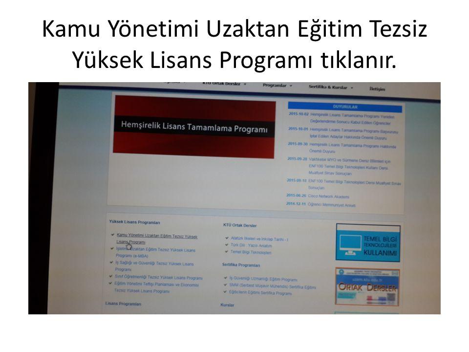 Kamu Yönetimi Uzaktan Eğitim Tezsiz Yüksek Lisans Programı tıklanır.