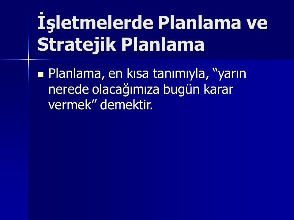 İşletmelerde Planlama ve Stratejik Planlama Planlama, en kısa tanımıyla, yarın nerede olacağımıza bugün karar vermek demektir.