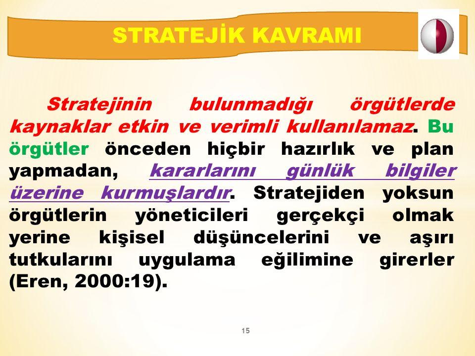 Stratejinin bulunmadığı örgütlerde kaynaklar etkin ve verimli kullanılamaz.