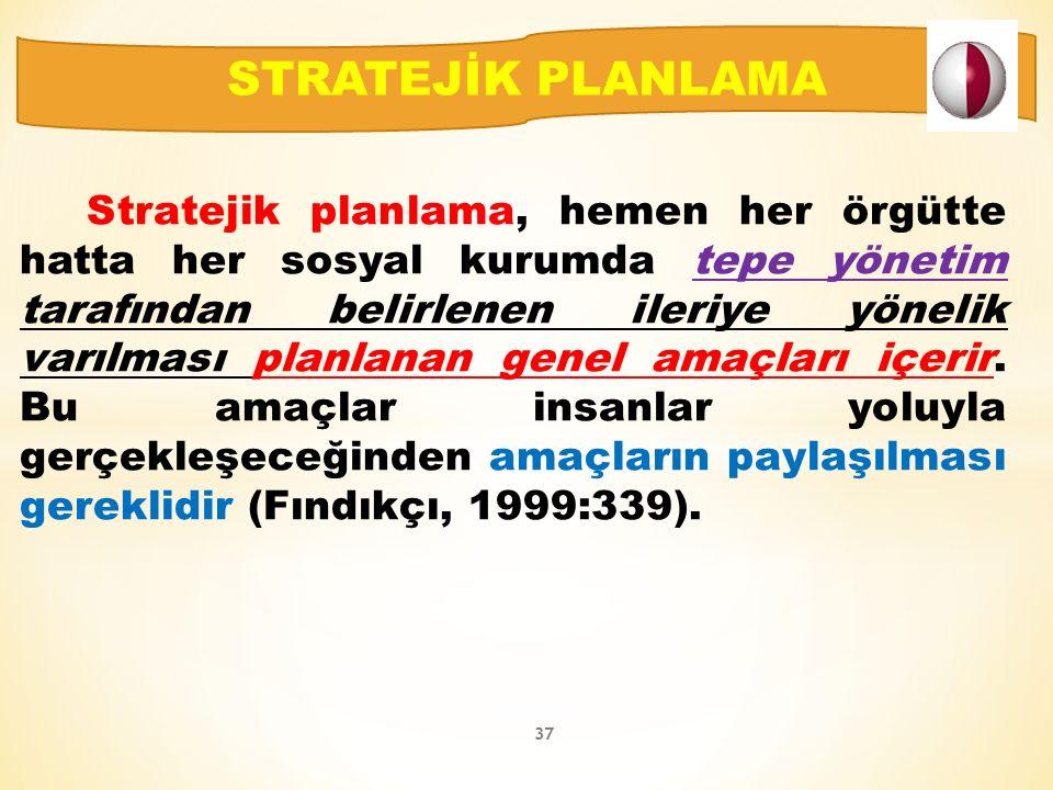 Stratejik planlama, hemen her örgütte hatta her sosyal kurumda tepe yönetim tarafından belirlenen ileriye yönelik varılması planlanan genel amaçları içerir.