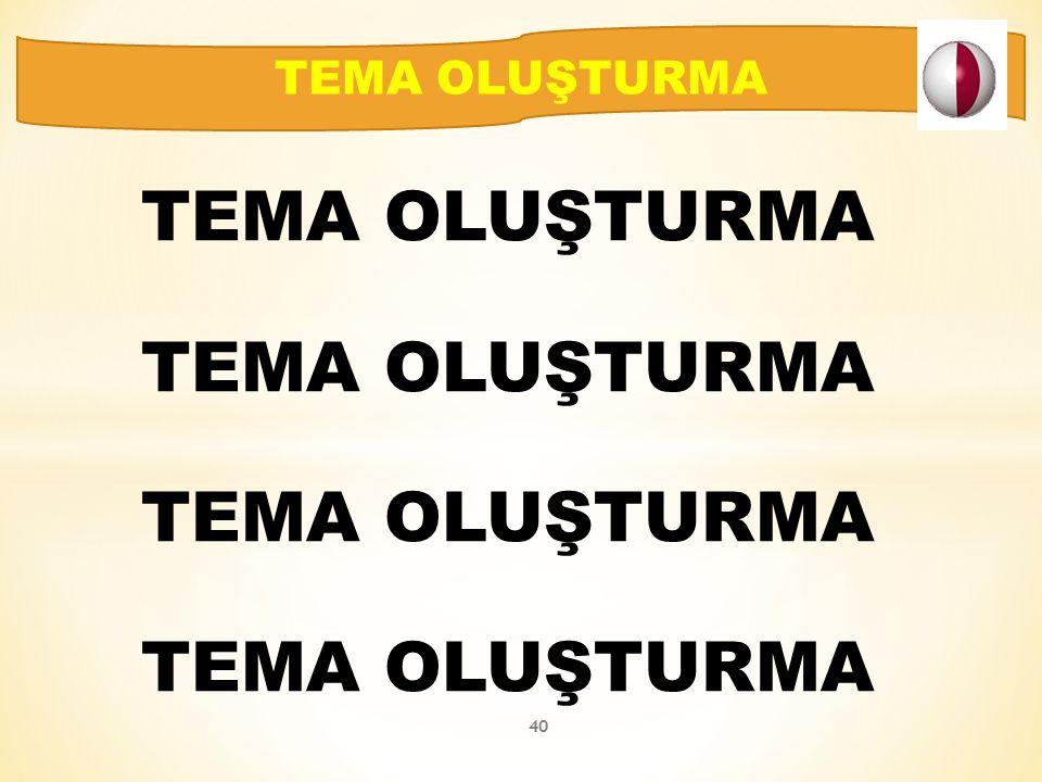 TEMA OLUŞTURMA TEMA OLUŞTURMA 40