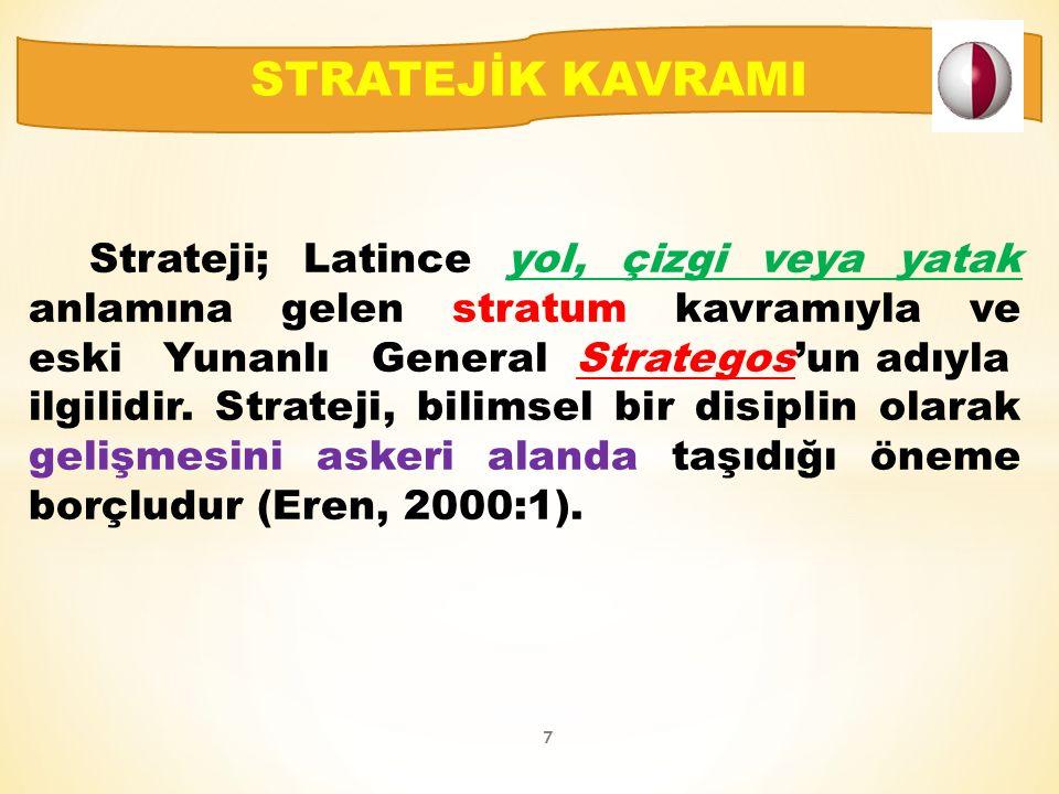 Strateji; Latince yol, çizgi veya yatak anlamına gelen stratum kavramıyla ve eski Yunanlı General Strategos'un adıyla ilgilidir.