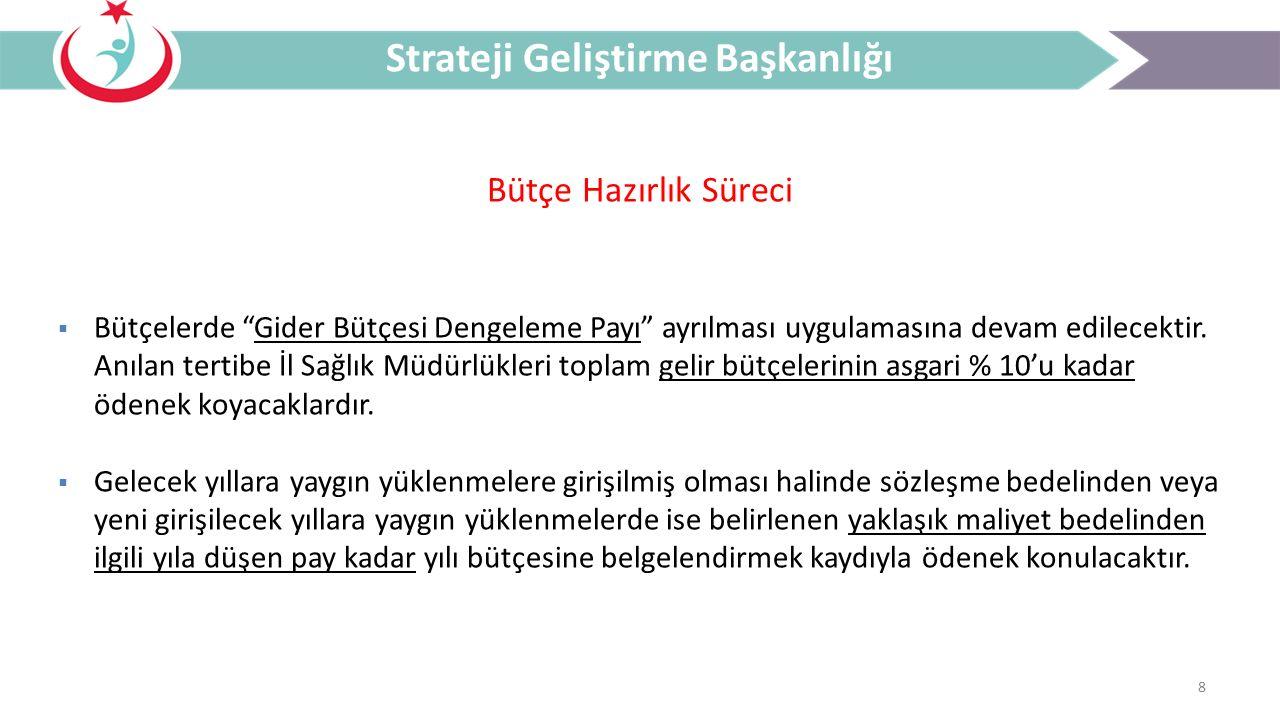 9 Sistem Açıklamaları Strateji Geliştirme Başkanlığı  Bütçeler, http://analitikbutce.saglik.gov.tr/ linki içerisinde bulunan bütçe modülünde hazırlanacaktır.