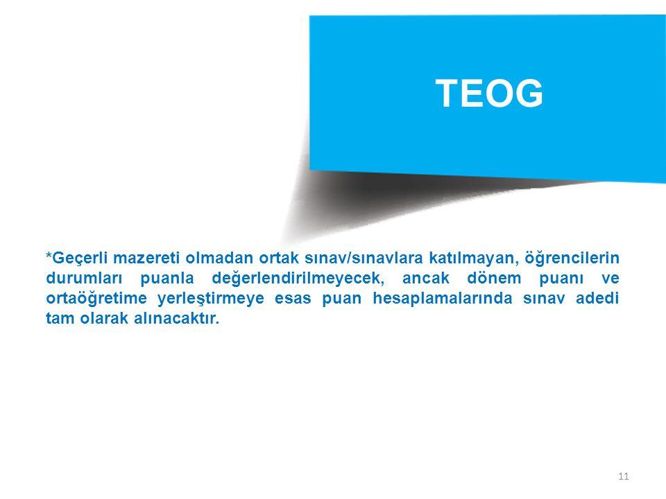 11 TEOG *Geçerli mazereti olmadan ortak sınav/sınavlara katılmayan, öğrencilerin durumları puanla değerlendirilmeyecek, ancak dönem puanı ve ortaöğret