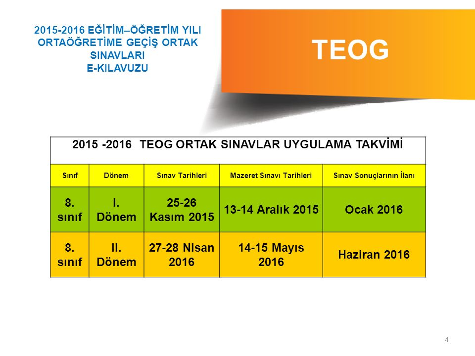 5 TEOG 1.TEOG ORTAK SINAVLAR 1.