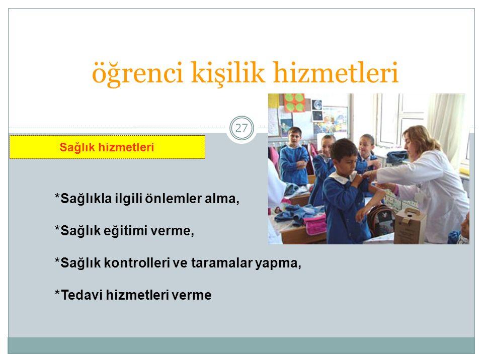 27 öğrenci kişilik hizmetleri *Sağlıkla ilgili önlemler alma, *Sağlık eğitimi verme, *Sağlık kontrolleri ve taramalar yapma, *Tedavi hizmetleri verme