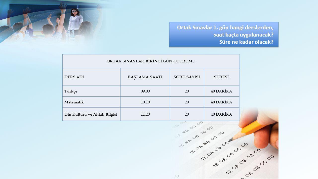 Ortak Sınavlar 1.gün hangi derslerden, saat kaçta uygulanacak.