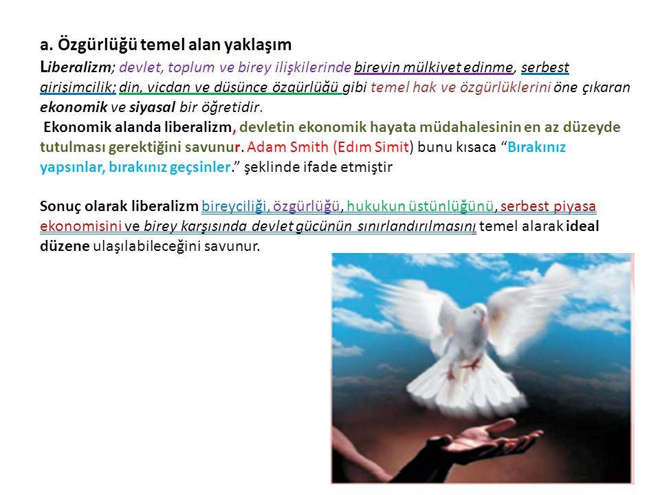 a. Özgürlüğü temel alan yaklaşım L iberalizm; devlet, toplum ve birey ilişkilerinde bireyin mülkiyet edinme, serbest girişimcilik; din, vicdan ve düşü