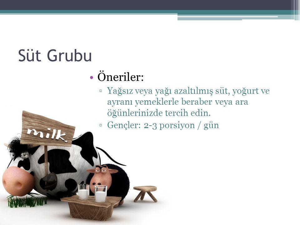 Süt Grubu Öneriler: ▫Yağsız veya yağı azaltılmış süt, yoğurt ve ayranı yemeklerle beraber veya ara öğünlerinizde tercih edin. ▫Gençler: 2-3 porsiyon /