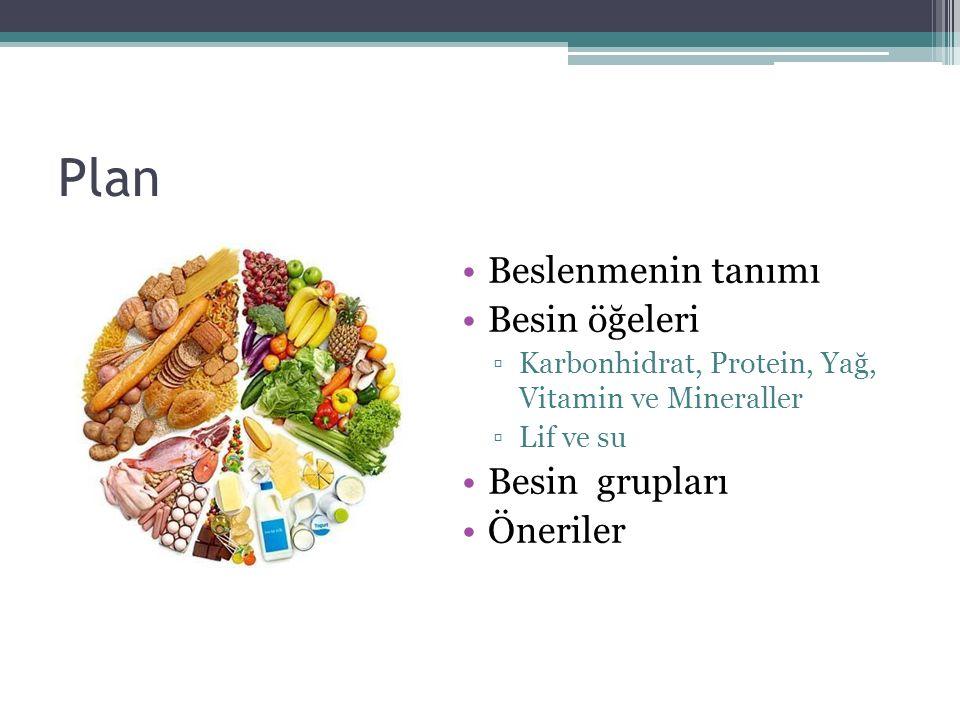 Plan Beslenmenin tanımı Besin öğeleri ▫Karbonhidrat, Protein, Yağ, Vitamin ve Mineraller ▫Lif ve su Besin grupları Öneriler