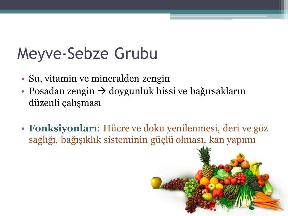 Meyve-Sebze Grubu Su, vitamin ve mineralden zengin Posadan zengin  doygunluk hissi ve bağırsakların düzenli çalışması Fonksiyonları: Hücre ve doku ye