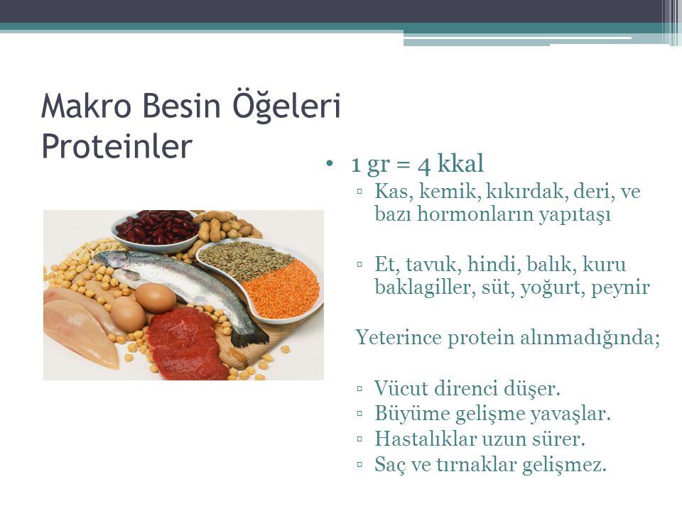 Makro Besin Öğeleri Proteinler 1 gr = 4 kkal ▫Kas, kemik, kıkırdak, deri, ve bazı hormonların yapıtaşı ▫Et, tavuk, hindi, balık, kuru baklagiller, süt