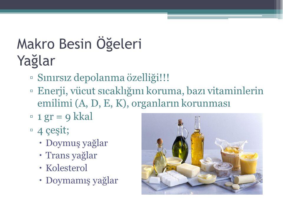 Makro Besin Öğeleri Yağlar ▫Sınırsız depolanma özelliği!!! ▫Enerji, vücut sıcaklığını koruma, bazı vitaminlerin emilimi (A, D, E, K), organların korun