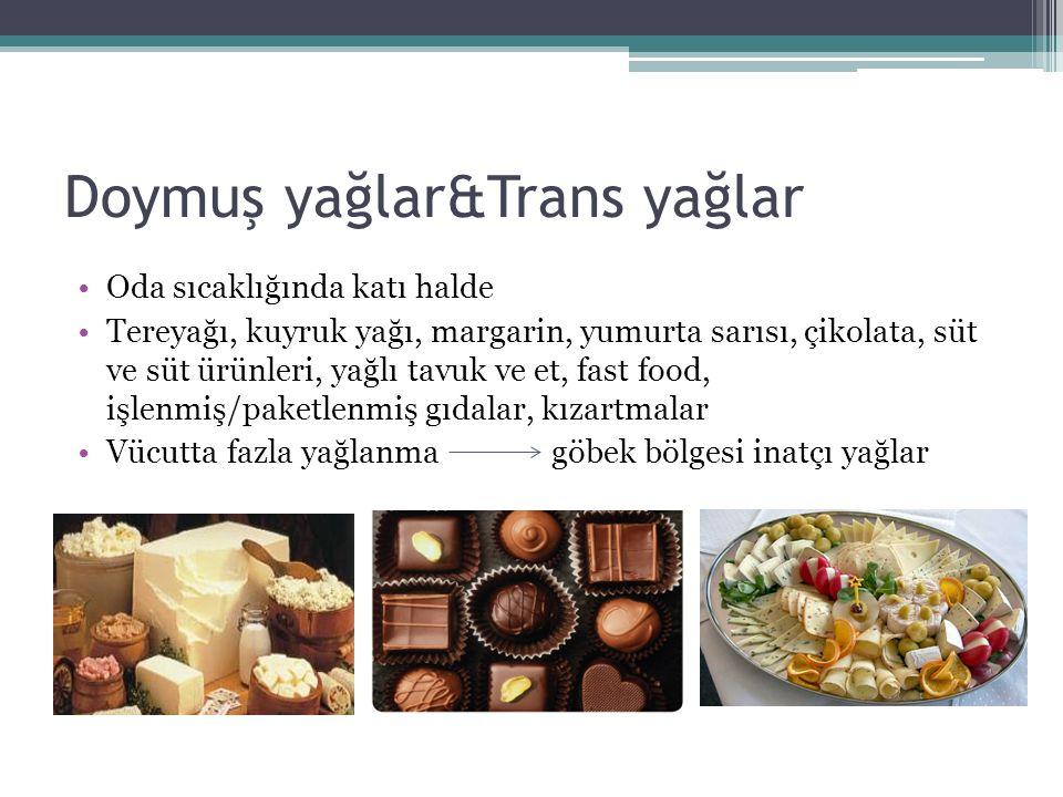 Oda sıcaklığında katı halde Tereyağı, kuyruk yağı, margarin, yumurta sarısı, çikolata, süt ve süt ürünleri, yağlı tavuk ve et, fast food, işlenmiş/paketlenmiş gıdalar, kızartmalar Vücutta fazla yağlanma göbek bölgesi inatçı yağlar Doymuş yağlar&Trans yağlar