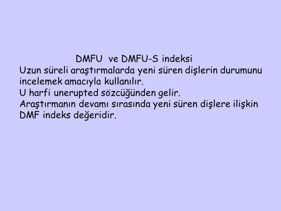DMFU ve DMFU-S indeksi Uzun süreli araştırmalarda yeni süren dişlerin durumunu incelemek amacıyla kullanılır. U harfi unerupted sözcüğünden gelir. Ara