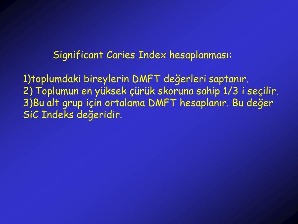 Significant Caries Index hesaplanması: 1)toplumdaki bireylerin DMFT değerleri saptanır. 2) Toplumun en yüksek çürük skoruna sahip 1/3 i seçilir. 3)Bu