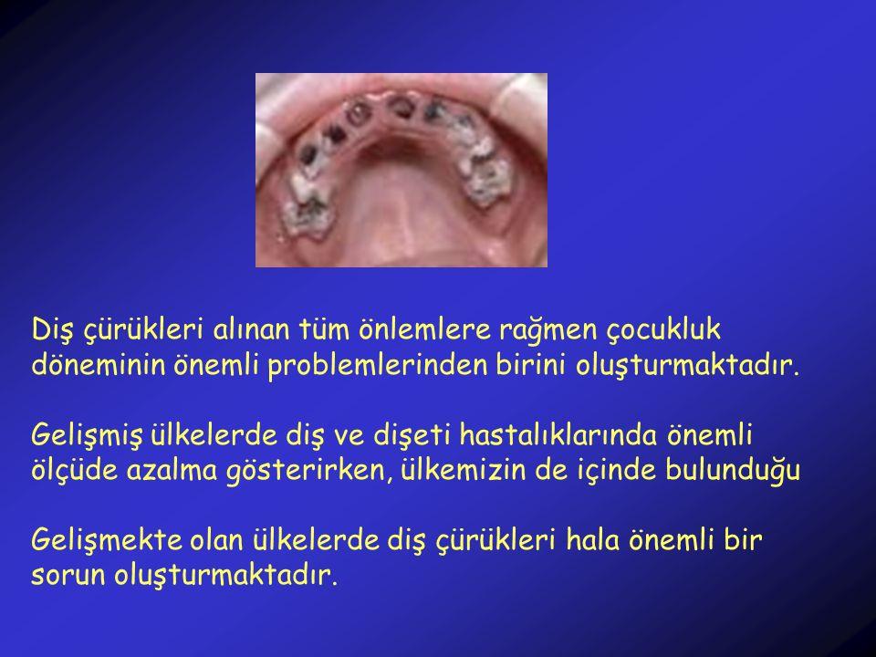 Diş çürükleri alınan tüm önlemlere rağmen çocukluk döneminin önemli problemlerinden birini oluşturmaktadır. Gelişmiş ülkelerde diş ve dişeti hastalıkl