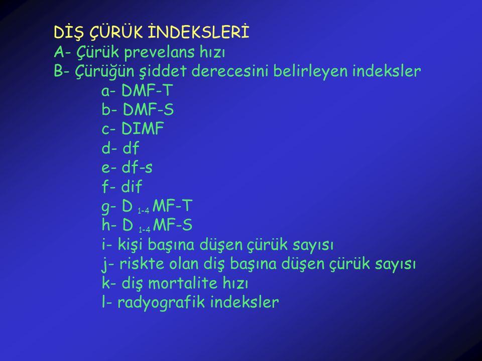 DİŞ ÇÜRÜK İNDEKSLERİ A- Çürük prevelans hızı B- Çürüğün şiddet derecesini belirleyen indeksler a- DMF-T b- DMF-S c- DIMF d- df e- df-s f- dif g- D 1-4