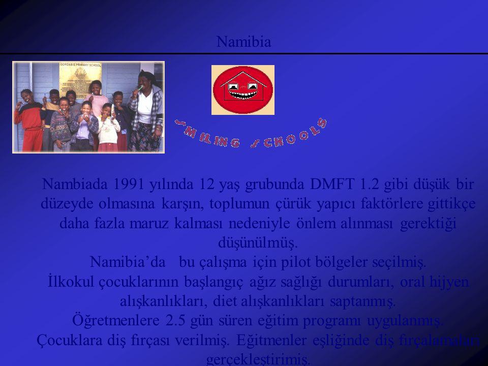 Namibia Nambiada 1991 yılında 12 yaş grubunda DMFT 1.2 gibi düşük bir düzeyde olmasına karşın, toplumun çürük yapıcı faktörlere gittikçe daha fazla ma