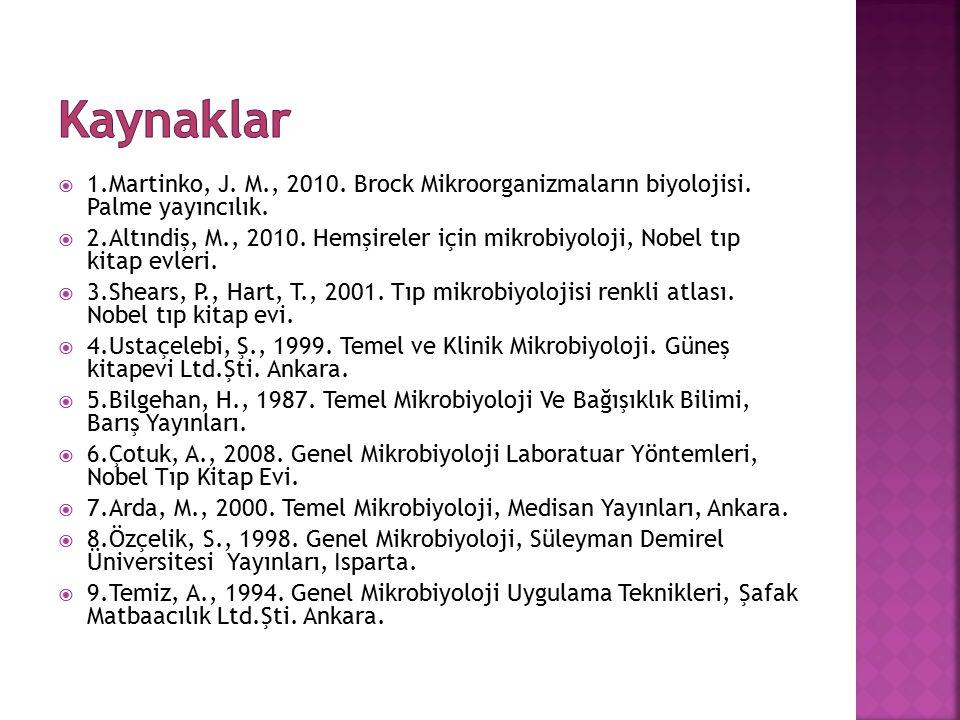  1.Martinko, J. M., 2010. Brock Mikroorganizmaların biyolojisi. Palme yayıncılık.  2.Altındiş, M., 2010. Hemşireler için mikrobiyoloji, Nobel tıp ki