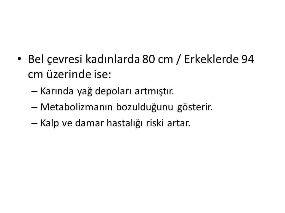 Bel çevresi kadınlarda 80 cm / Erkeklerde 94 cm üzerinde ise: – Karında yağ depoları artmıştır. – Metabolizmanın bozulduğunu gösterir. – Kalp ve damar