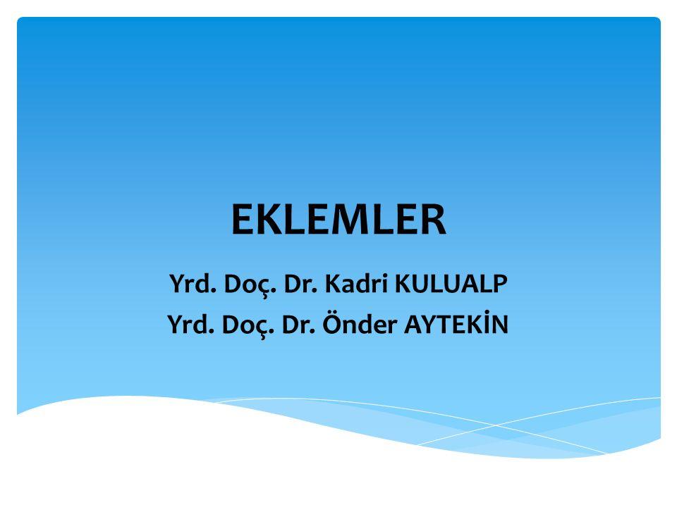 EKLEMLER Yrd. Doç. Dr. Kadri KULUALP Yrd. Doç. Dr. Önder AYTEKİN