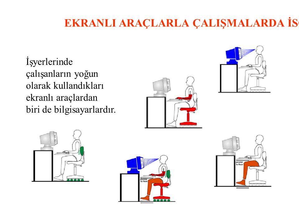 EKRANLI ARAÇLARLA ÇALIŞMALARDA İSG İşyerlerinde çalışanların yoğun olarak kullandıkları ekranlı araçlardan biri de bilgisayarlardır.